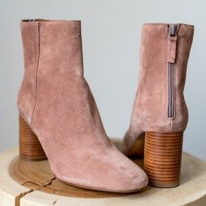 SANDRO Pink Suede Ankle Boots